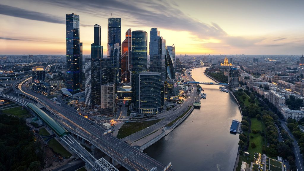 Moscva river with Third Ring Road and Moscow International Business Center, Russia