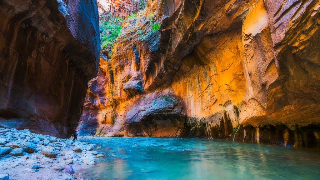 Zion narrow with Virgin River in Zion National Park, Utah, USA