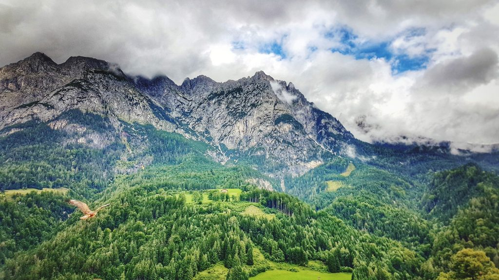 Scenic view of mountains against sky, Werfen, Austria
