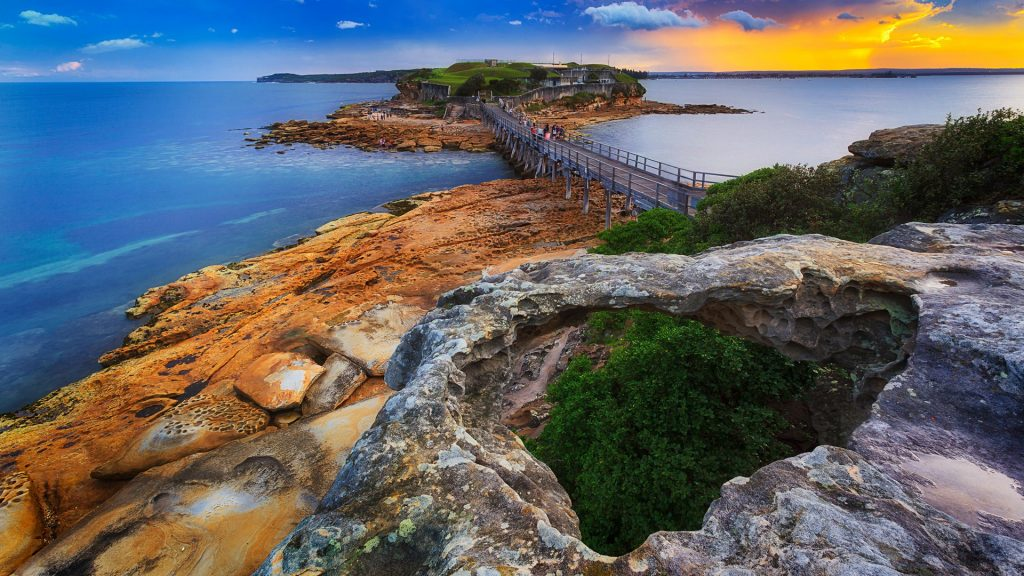 Sunset over Citadel on Bare Island in Sydney's Botany Bay coastal area, Australia