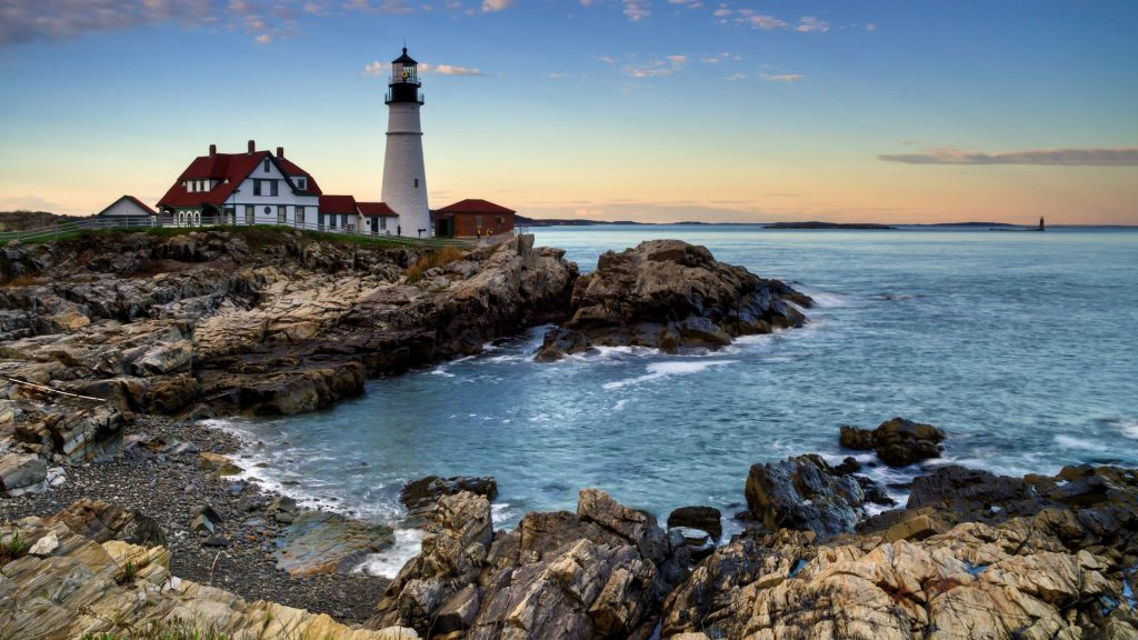 Portland Head lighthouse at sunset, Cape Elizabeth, Maine, USA