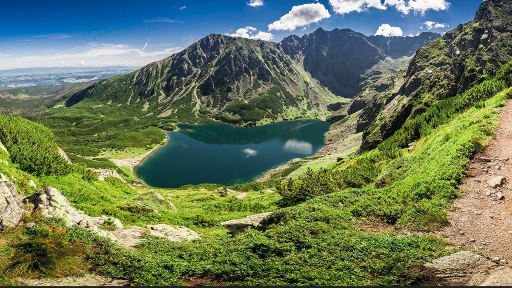 Panorama of Czarny Staw Gąsienicowy in Tatra Mountains, Poland