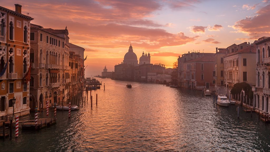 Venice early morning view from the Academy bridge, Italy