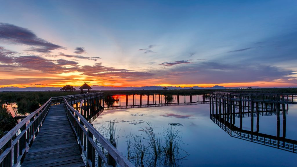 Wooden Bridge in lotus lake on sunset at Khao Sam Roi Yot National Park, Thailand