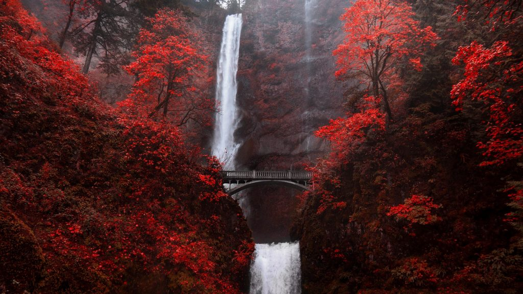 Multnomah Falls waterfall bridge in autumn red, Portland, Oregon, USA