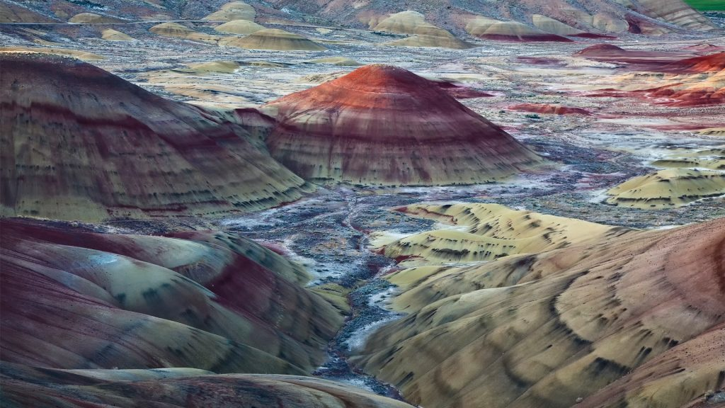 View of Painted Hills in Wheeler County, Oregon, USA