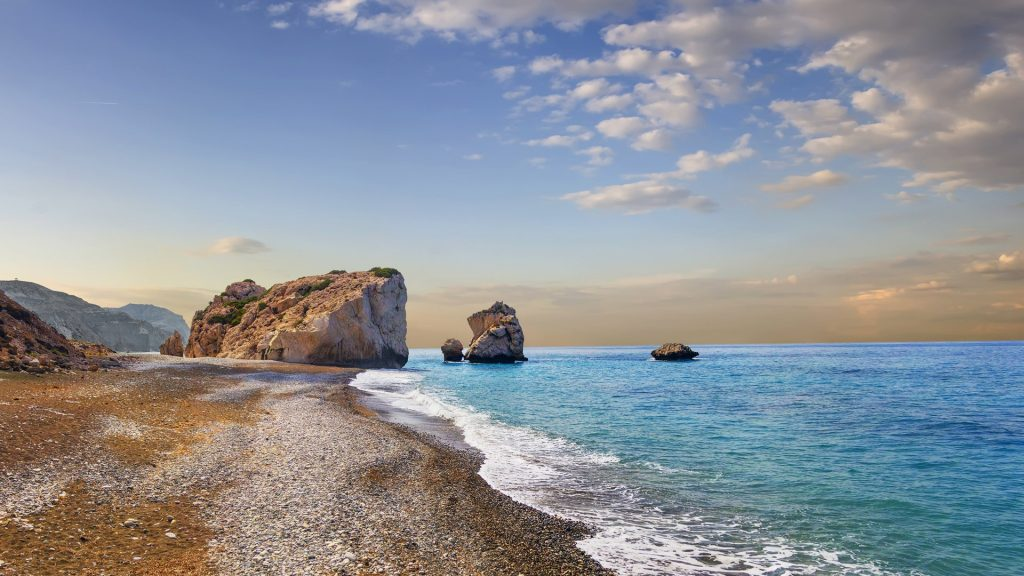 Bay of Aphrodite with rock Petra tou Romiou between Limassol and Paphos, Cyprus