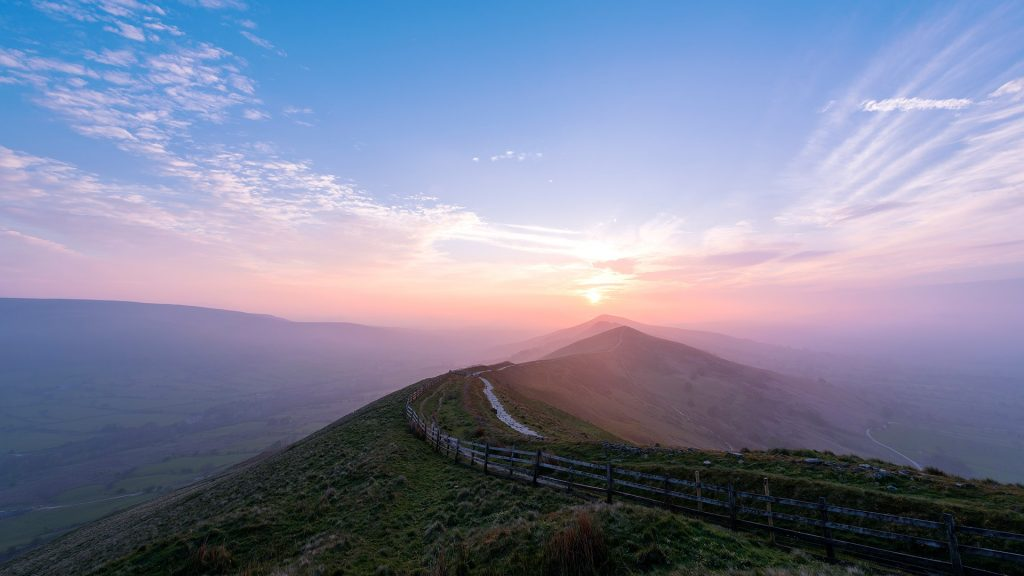 The Great Ridge at sunrise, Peak District National Park, England, UK