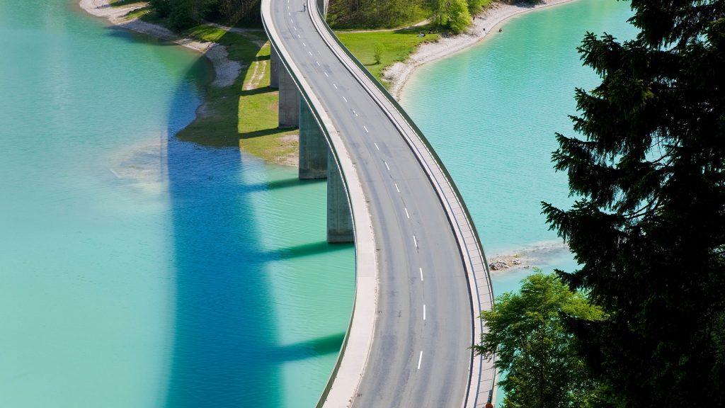 Sylvenstein Lake and Bridge, Bavarian Alps, Bavaria, Germany