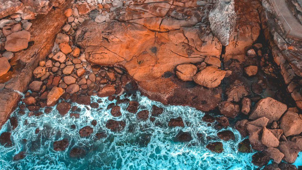 Aerial view of rocky coastline, Bondi Beach, New South Wales, Australia