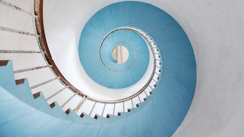 Spiral staircase in lighthouse Lyngvig Fyr, Hvide Sande, Denmark
