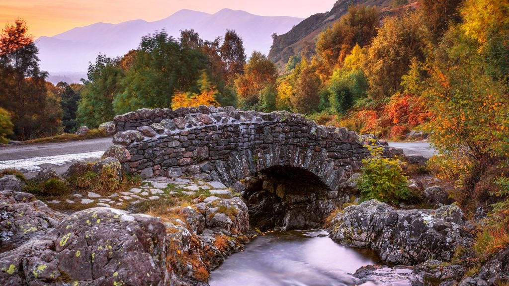Ashness Bridge, Watendlath, Keswick, Lake District, Cumbria, England, UK