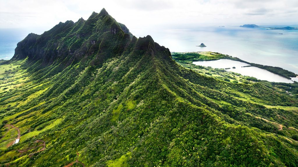 Aerial view of Kualoa ridge with sea in distance, Oahu, Hawaii, USA