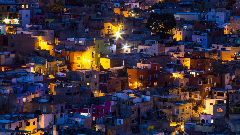 Night lighting of the city of Ganajuanto, Mexico