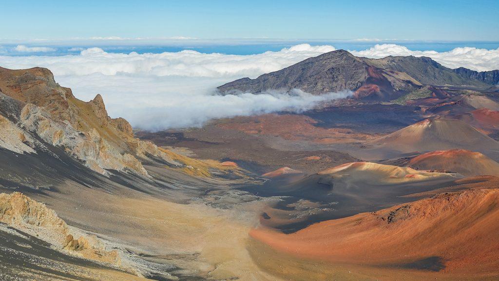 The volcanic landscape of Haleakalā National Park crater, Maui, Hawaii, USA