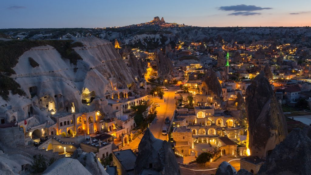 The twilight time at Göreme, Cappadocia, Turkey