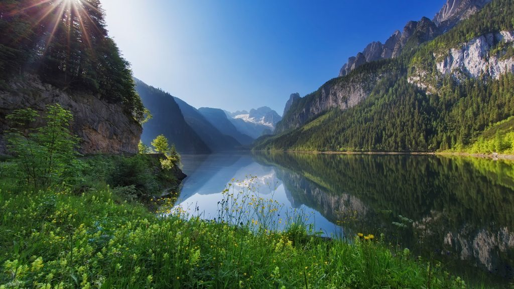 Lake Gosausee with Glacier Dachstein in back, nature reserve in Austria