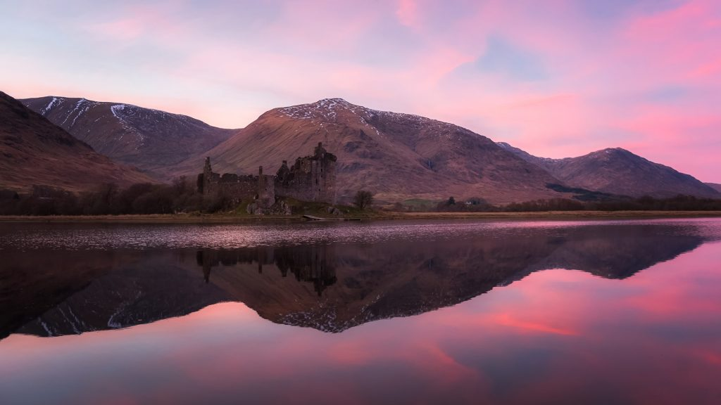 Kilchurn Castle at the northeastern end of Loch Awe, Scotland, UK