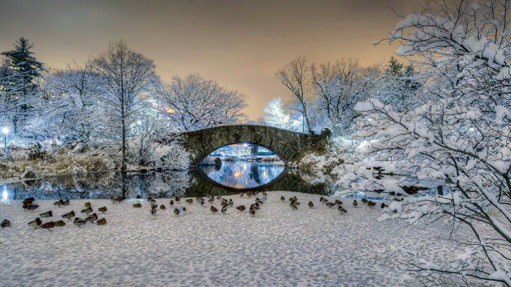 Gapstow bridge in Central Park in winter, Manhattan, New York City, USA