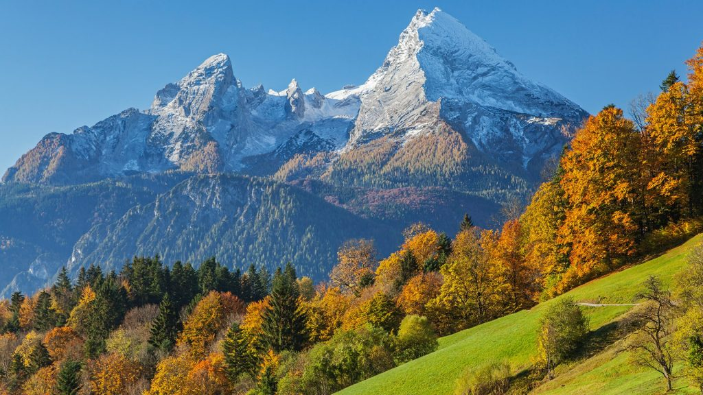 View from Maria Gern towards Watzmann Mountain, Berchtesgaden, Bavaria, Germany
