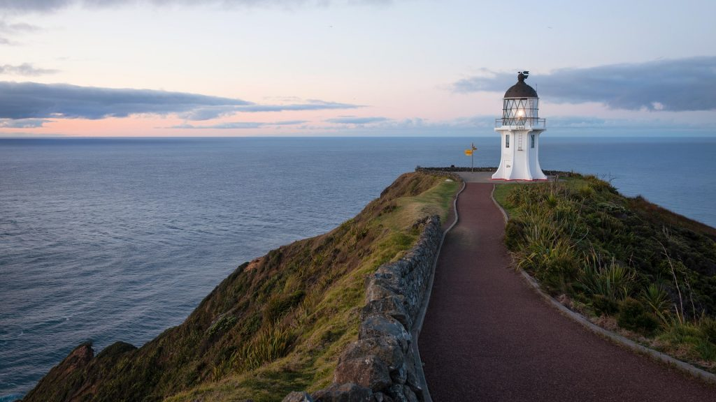 Cape Reinga lighthouse at dusk, New Zealand