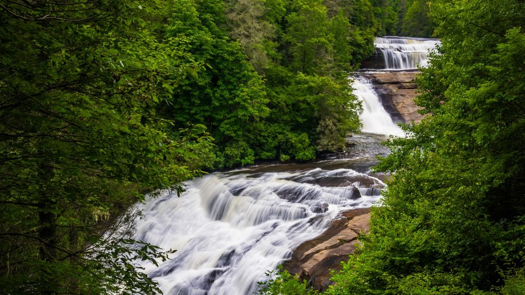 View of Triple Falls in Dupont State Forest, North Carolina, USA