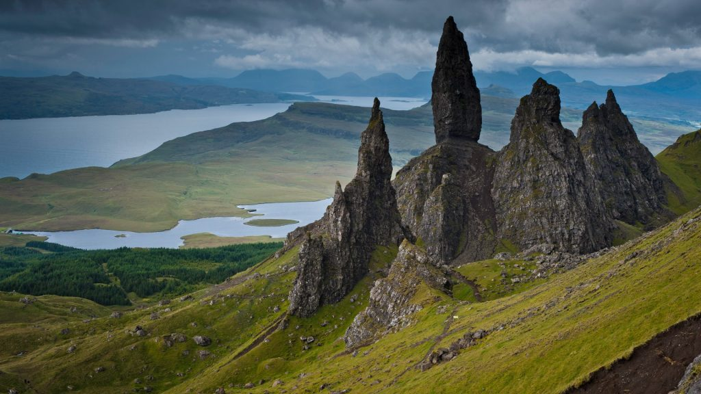 Highland pinnacles Old Man of Storr, Isle of Skye, Scotland, UK