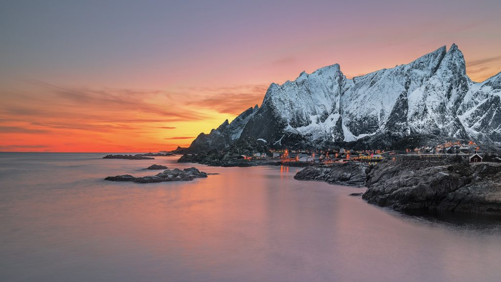 Snowcapped mountains at sunset, Lofoten, Flakstad, Nordland, Norway