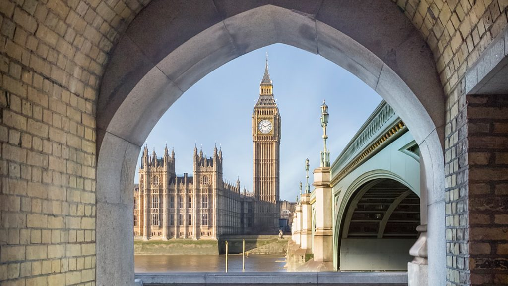 View to Big Ben and Palace of Westminster through a pedestrian tunnel, London, England, UK