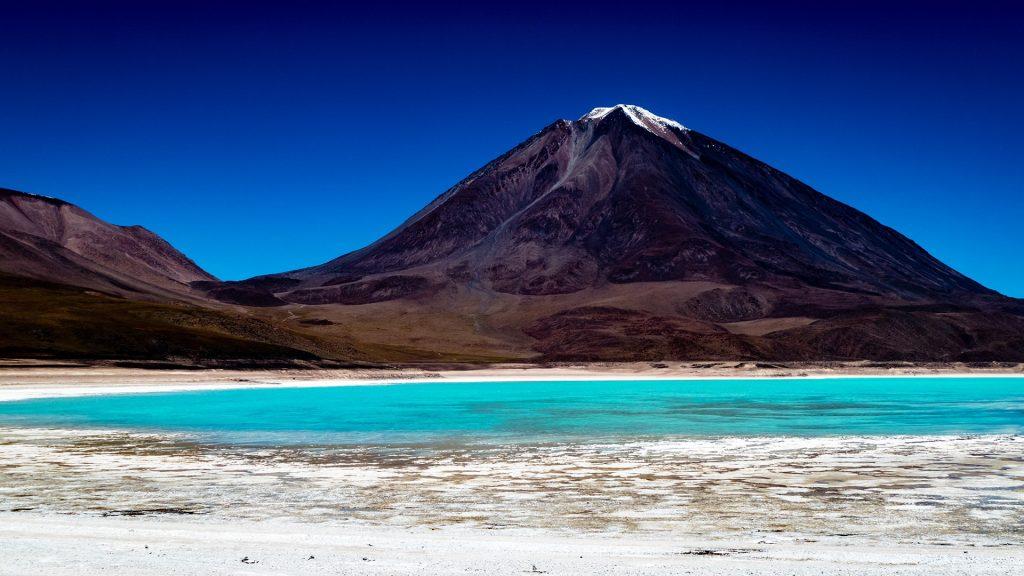 Volcano Lincancabur behind Laguna Verde in Eduardo Avaroa Reserve, Bolivia