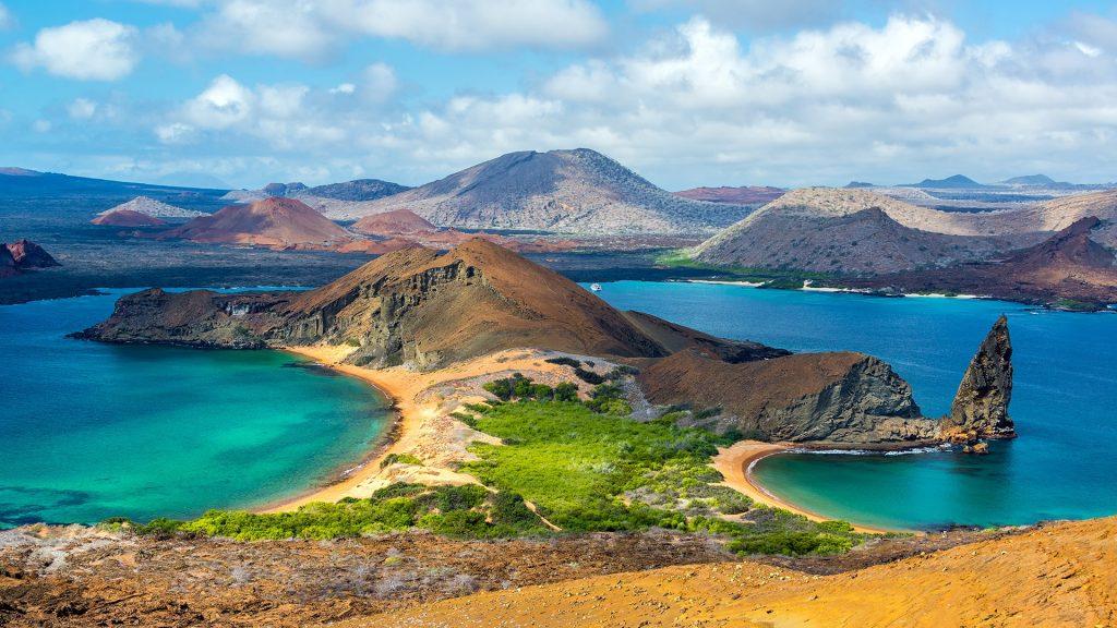 Two beaches and mountain on Bartolomé Island in the Galápagos Islands, Ecuador