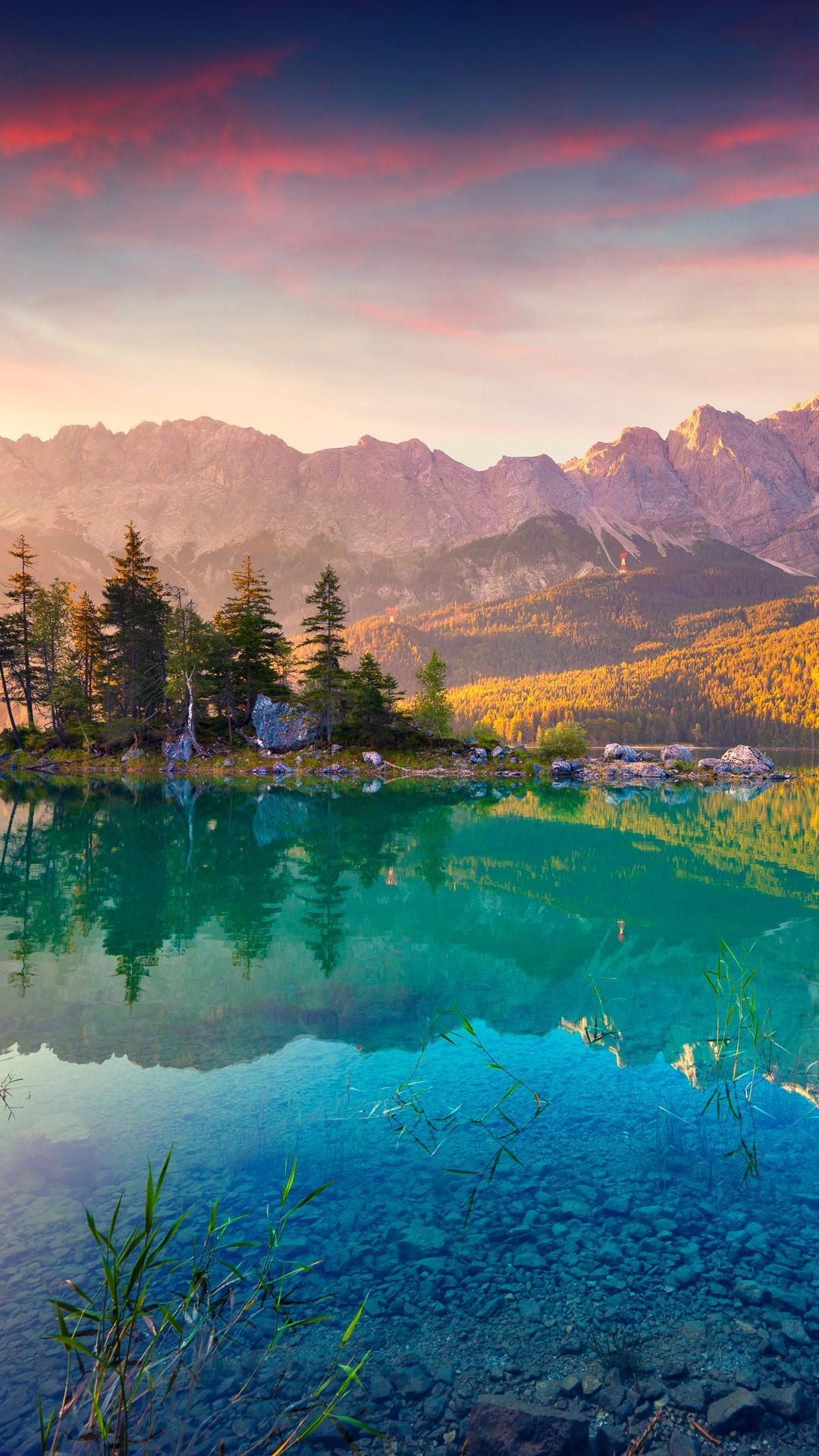 Summer Sunrise On The Eibsee Lake In German Alps  Germany