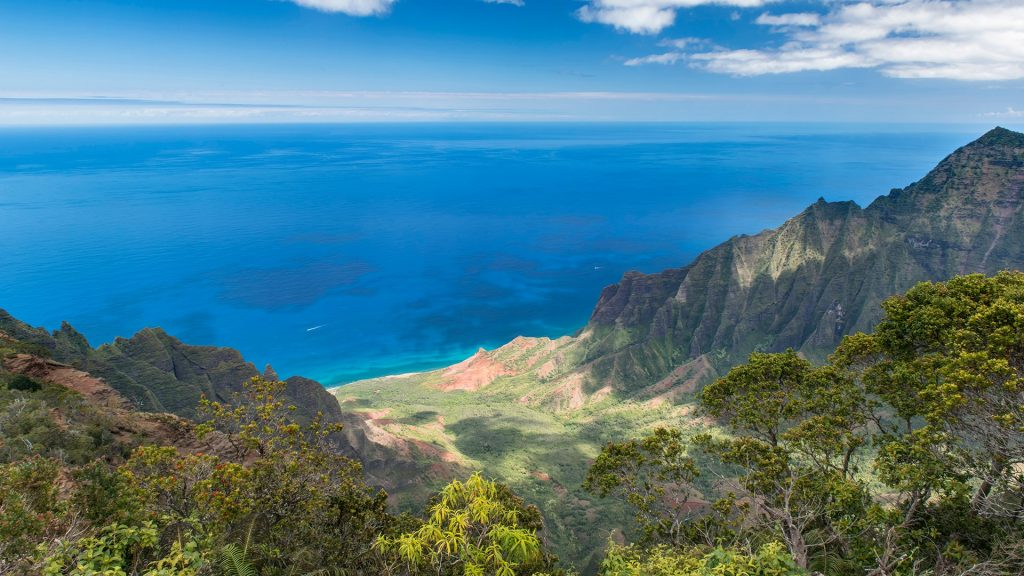 Aerial view of mountains and coastline, Kalalau Valley, Kauai, Hawaii, USA