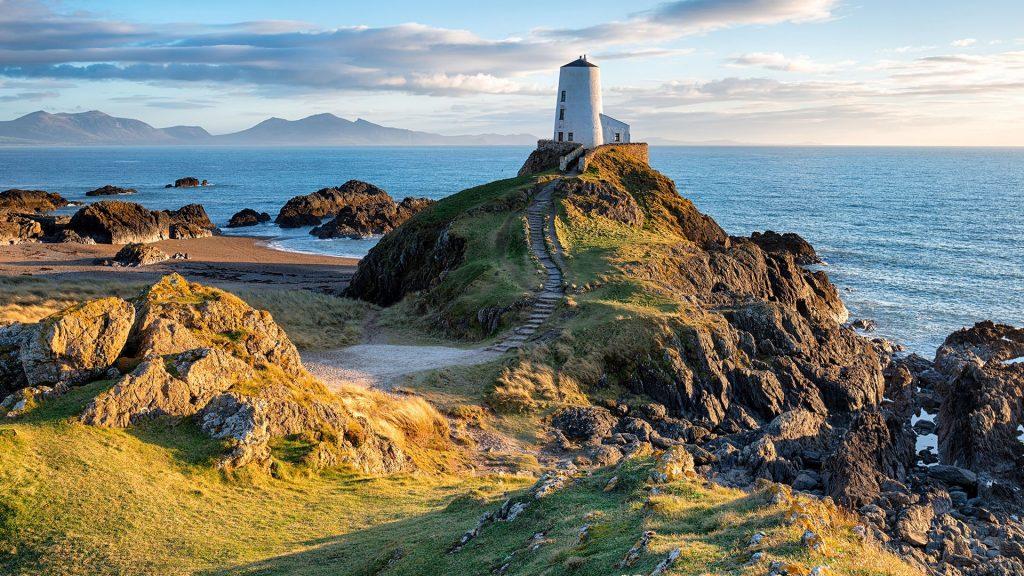 Lighthouse on Llanddwyn Island near Newborough on the Anglesey coast in Wales, UK