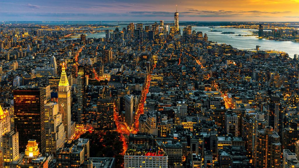 New York's Manhattan, Brooklyn and Staten Island seen during the twilight hours, USA