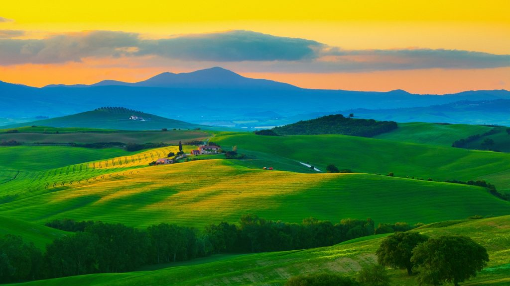 The hills of Tuscany at dawn, Val d'Orcia, Italy
