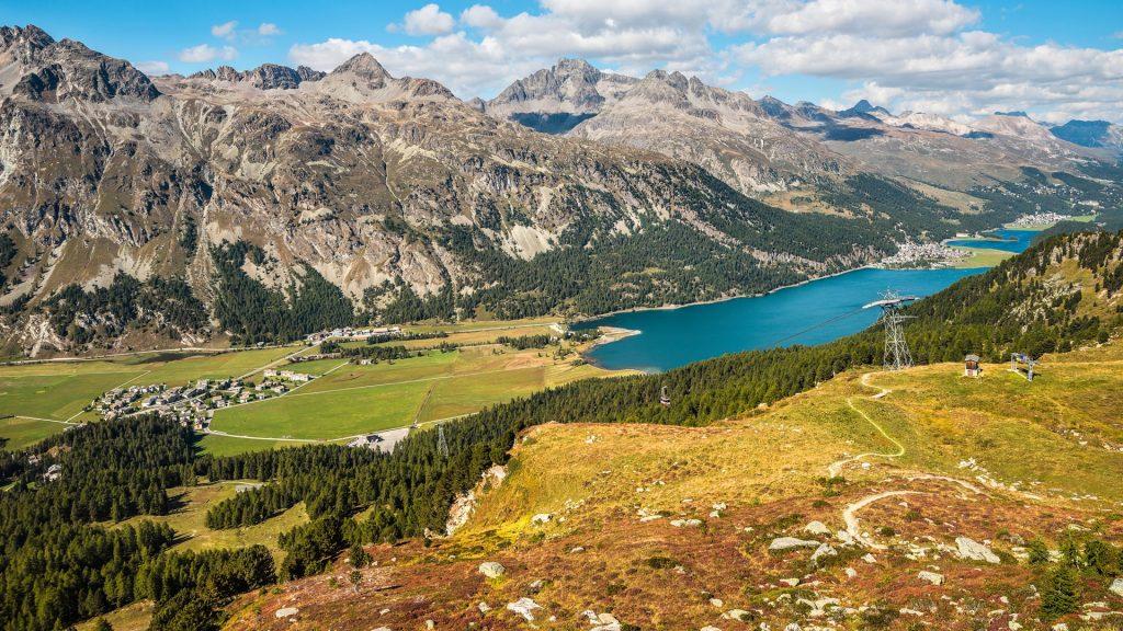 View from Furtschellas at Engadine Valley torwards Silvaplana, Grisons, Switzerland