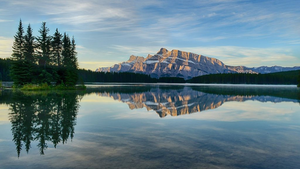 Morning view of Mount Rundle at Two Jack Lake, Banff National Park, Alberta, Canada
