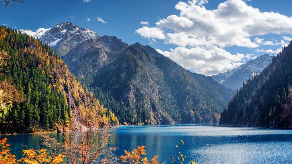 Long Lake among mountains in Jiuzhaigou nature reserve, Jiuzhai Valley National Park, China