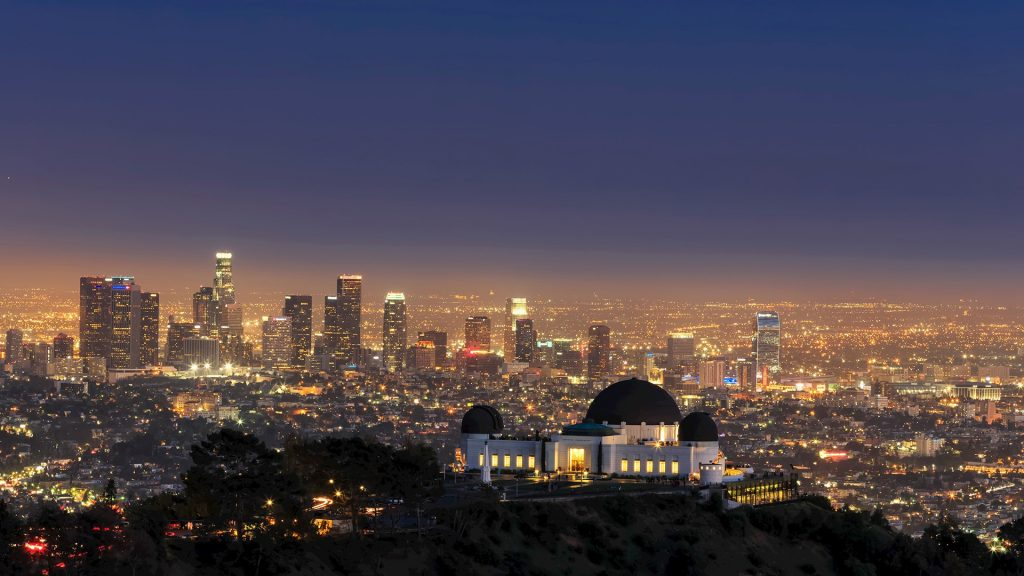 Skyline and Griffith Observatory in the evening, Los Angeles, California, USA