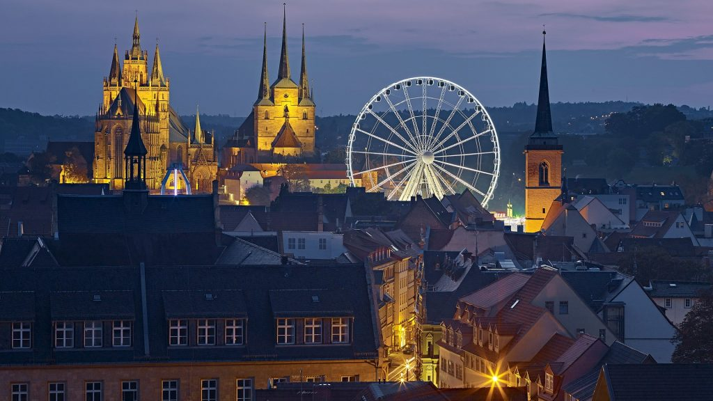 Erfurt with Ferris wheel, Cathedral and St. Severus Church at Oktoberfest, Thuringia, Germany
