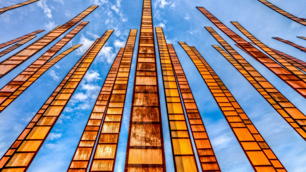 Looking up,  sculpture in downtown Seattle at the Space Needle, Washington, USA
