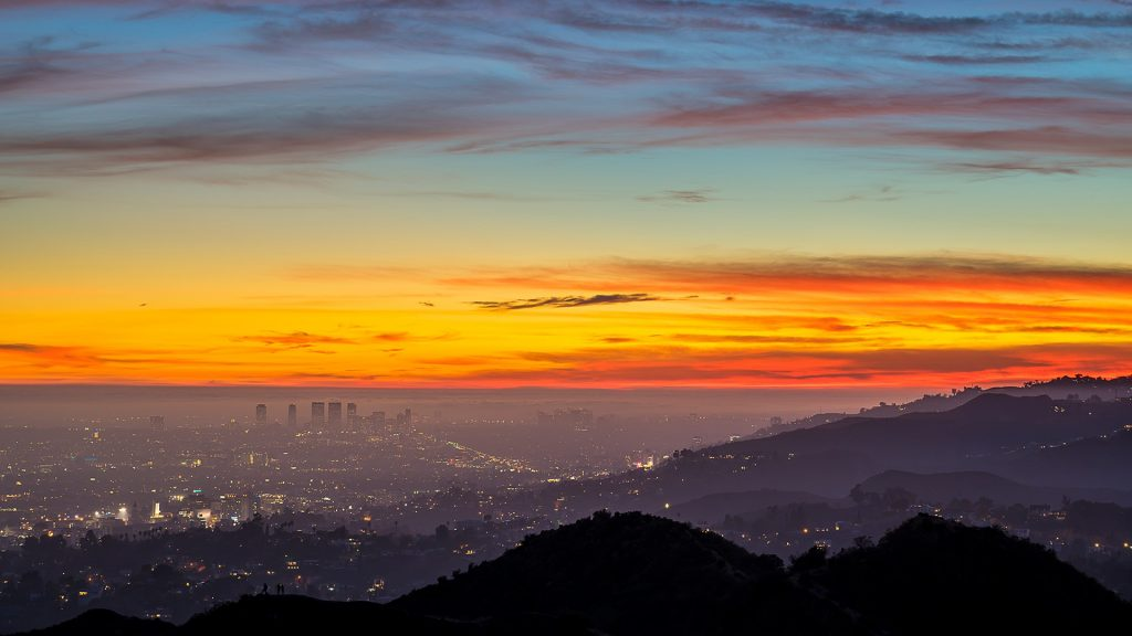 Colorful Los Angeles sunset taken from the Giffith Park, California, USA