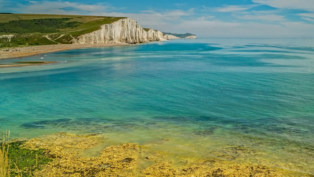 The turquoise sea at Seven Sisters Cliffs, Sussex, England, UK
