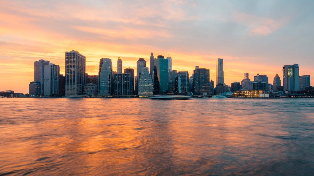 Manhattan skyline, New York City at sunset, USA