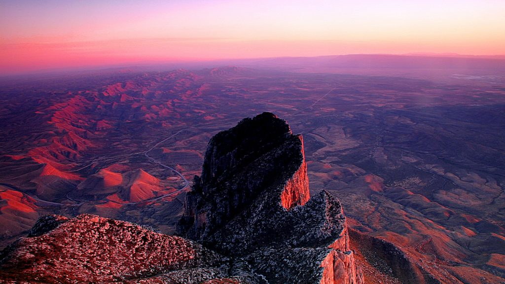 Sunset from summit of Guadalupe Peak, Guadalupe Mountains National Park, Texas, USA