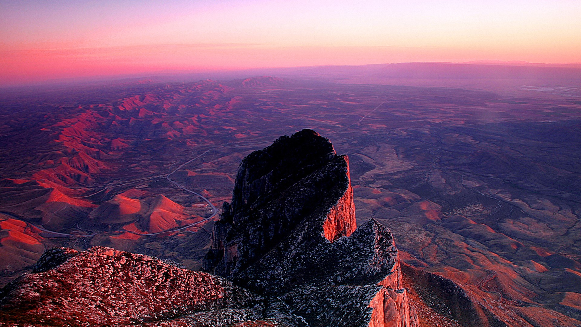 Sunset from summit of Guadalupe Peak, Guadalupe Mountains ...