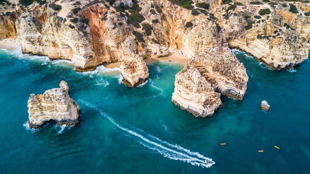 Cliffs and sea stacks of Ponta da Piedade, Lagos, Algarve, Portugal