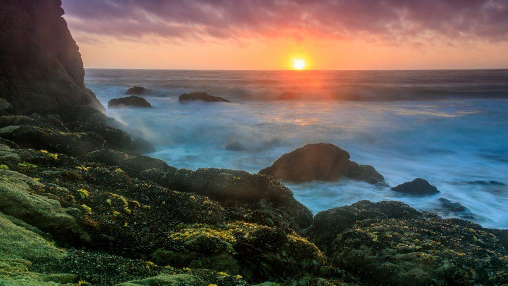 Sunset over Gray Whale Cove State Beach, Half Moon Bay, San Mateo County, California, USA