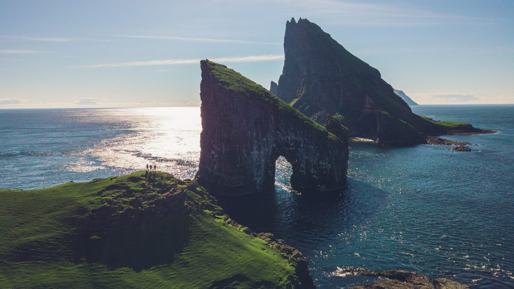 Sea stacks Drangarnir between the islet Tindhólmur and the island Vágar in the Faroe Islands, Denmark